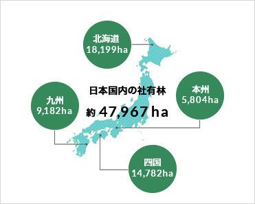 社有林分布図(2019年3月31日現在)